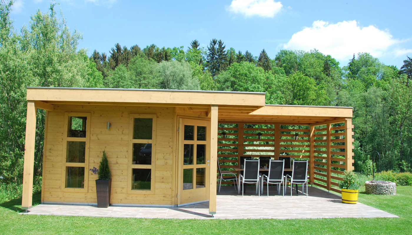 gartenhaus mit pergola holzbau freim ller. Black Bedroom Furniture Sets. Home Design Ideas